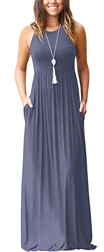 (GRECERELLE Women's Sleeveless Racerback Loose Plain Maxi Dresses Casual Long Dresses with Pockets Purple Gray-M)