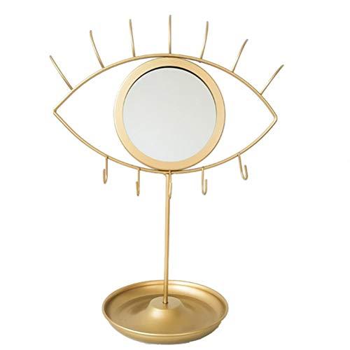 Suszian Espejo de Maquillaje de vanidad, Espejo de Maquillaje con Forma de Ojo/Conejo Creativo Espejo Decorativo de Estilo nordico con Gancho de joyeria y Bandeja de Almacenamiento