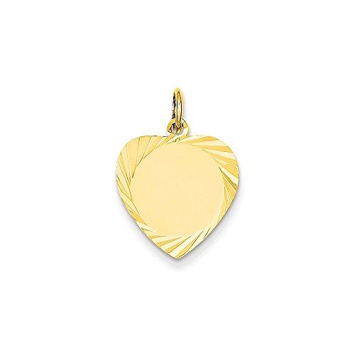 - Heart Engravable Pendant Custom Name Plate Charm Disc Diamond Cut 14K Yellow Gold