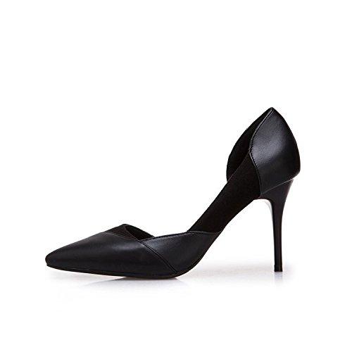5cm 8 Chaussures Et Avec Fte De Printemps 37 Nus Noir La Hauts Talons Une Pales Pointe Bouche D't Fine a1qTx