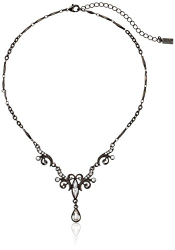 Tone Crystal Necklace (1928 Jewelry Black-Tone Crystal Teardrop Y-Shape Necklace, 15