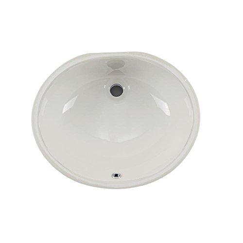 Wells Sinkware RTU1714-6W Oval Vitreous Ceramic Lavatory Single Bowl Undermount Bathroom Sink, 17