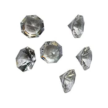 Acrylic Clear Ice Rock Diamonds Crystals Treasure Gems for Vase Fillers, Table Scatter, Birthday Decoration Favor, Event, Wedding, Arts & Crafts - Clear or Colorful (Pk of 36, Clear Diamonds)