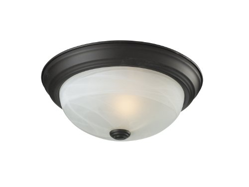 Z-Lite 2113F1 Athena One light ceiling, Steel Frame, Bronze Finish and White Swirl Shade of Glass Material