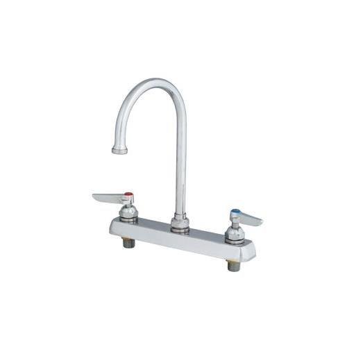 T&S Brass B-1142-XS Work Board Faucet, Deck Mount, 8'' Centers, Swivel Gooseneck, Lever Handles, 2'' Shanks