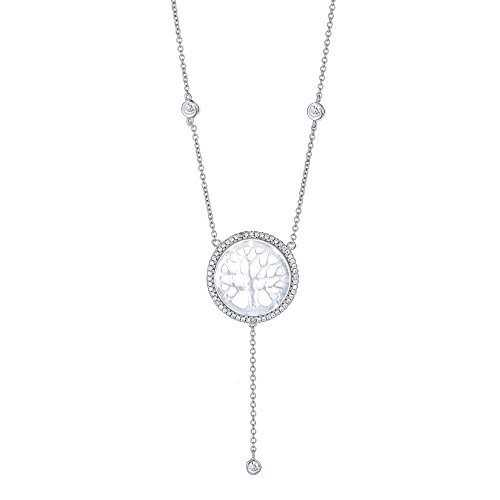 Platinum Plated 925 Sterling Silver Round Cubic Zirconia Y Droplet Lariat Long Chain Mother of Pearl Tree of Life Halo CZ Drop Pendant Necklace, Adjustable Length 16,17,18