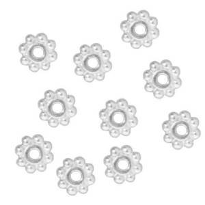 Five Season 6mm Fine Bright Silver Plated Pewter Daisy Spacer Beads for Bracelets DIY Jewelry Making (About 100pcs )