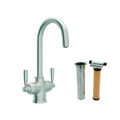 (Rohl U.KIT1335LS-STN-2 Perrin and Rowe Single Hole Bathroom Faucet with Triflow Filt, Satin Nickel)