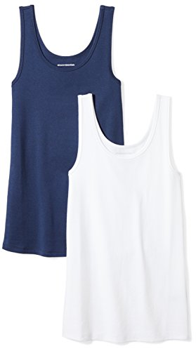 Amazon Essentials Women's 2-Pack Slim-Fit Tank, Navy/White, Small