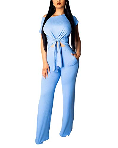 2 Pocket Crop - Womens Short Sleeve Ribbed Tie Up Crop Top Pockets Loose Long Pants Set 2 Piece Outfits Jumpsuits