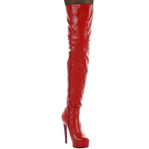 Angkorly - Scarpe Da Donna Con Stivaletto - Flessibile - Tacco Alto Lucido Tacco 13 Cm Rosso