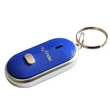 Lanbowo LED Buscador de Llaves Localizador Encontrar Lost Llaves Cadena Llavero Silbato Sonido Control - Azul