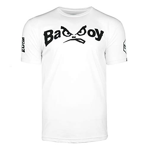 - Bad Boy MMA Authentic Classic Retro Logo T-Shirt with Old School Design White - X-Large