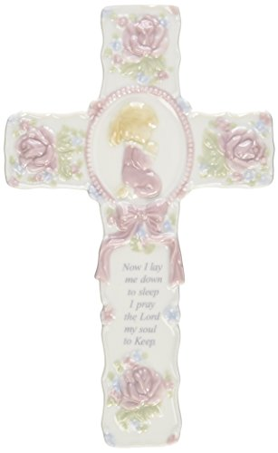 Cosmos R8015B Fine Porcelain Inspirational Cross with Praying Girl Figurine, 8-3/4-Inch ()