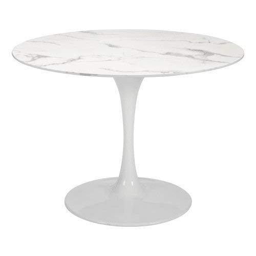 (Zuo Modern 100992 Dylan Bar Table, Stone & White; Smooth, Durable Faux Mable Top; Lacquered Base; 250 lbs Weight Capacity; Dimensions 41.7