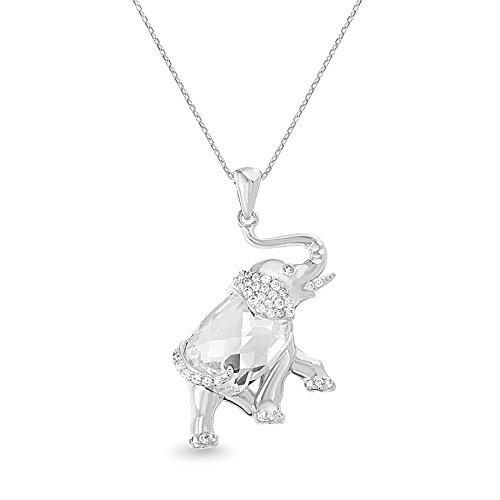 Swarovski Elephant Necklace - Devin Rose Polished Elephant Pendant Necklace for Women Made with Swarovski Crystal in Rhodium Plated Brass