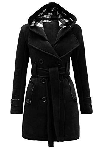 OMZIN Ladies Black Trench Coat Swing Dress Double Breasted Casual Overcoat Black M