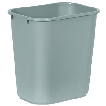 rubbermaid commercial 2956 lldpe 28 18 quart deskside medium trash can rectangular - Industrial Trash Cans