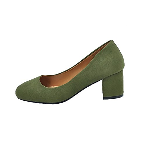 Closed Women's WeenFashion Round On Pumps Shoes Frosted Heels Solid Green Kitten Pull Toe qKp4wxTqUg