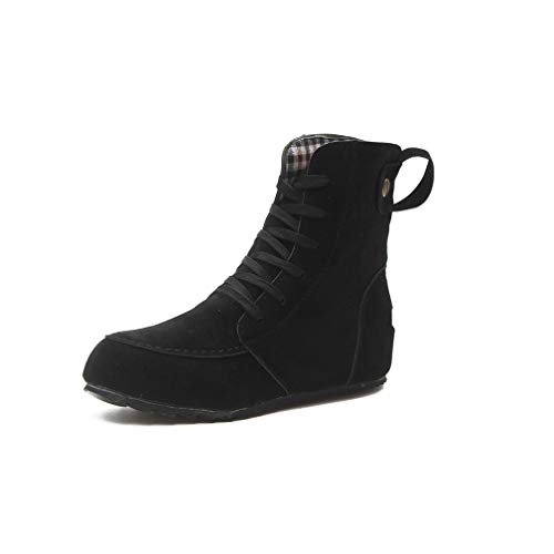 ChyJoey Women's Flat Lace Up Ankle Booties Rubber Nonslip Round Toe Comfortable Walking Short Winter Boots Black