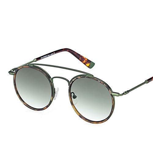 Sunglasses Women Men Retro Round Glasses UV400 Double Nose Bridge Metal ()