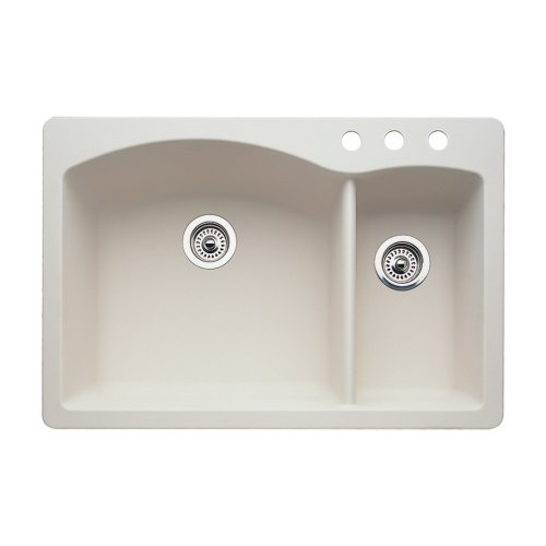 (Blanco 440201-3 Diamond 3-Hole Double-Basin Drop-In or Undermount Granite Kitchen Sink,)