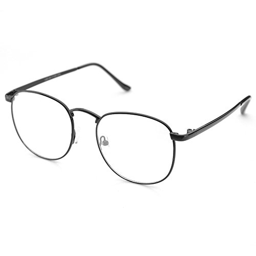 PenSee Oversized Circle Metal Eyeglasses Frame Inspired Horned Rim Clear Lens Glasses - Rim Glasses Clear