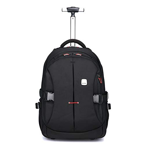 Funny & Special 19 inches Large Storage Laptop Travel Rolling Backpack Waterproof Wheeled for Men and Women Business,Students Multifunction (Black) ()
