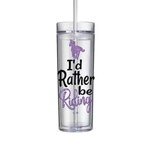 Horse Tumbler with Straw Gifts for Girls I'd Rather Be Riding Bottle Purple 16oz 0086
