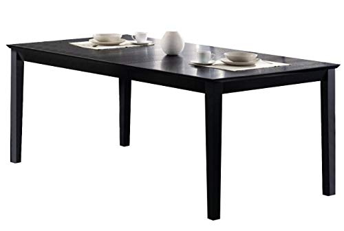 Louise Rectangular Dining Table with 18-inch Leaf Black
