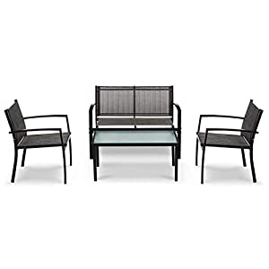 IntimaTe WM Heart Outdoor Textoline Furniture Conservatory Sets with Table and Chairs, Fitting for Garden, Balcony and Coffee House (VENICE – Set of 4)