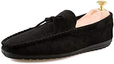 You Are Fashion ファッションカジュアル男性ローファー高品質金属装飾アップリケリアル本革の靴男フラットシューズフェイクフリースインサイドボートモカシン(従来のオプション) (Color : Warm Black, サイズ : 25.5 CM)