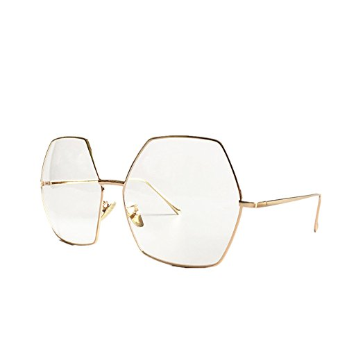 MINCL/Oversized Metal Geometric Octagon Gradient Color Lens Hippie Sunglasses -yhl (gold-clear, gold-clear) (Octagon Glasses)