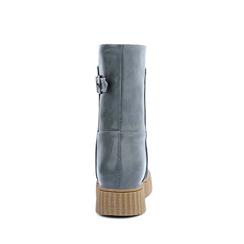 On Gray Low Boots Round AgooLar Heels PU Pull Toe Women's Solid OwvUZv58q