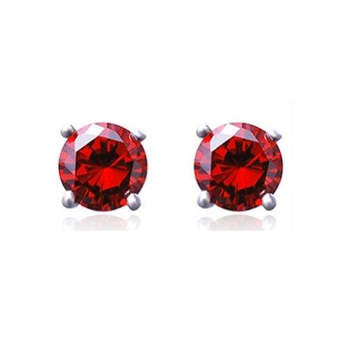 Clear Crystal Magnet Stud Earrings Magnet Earring Unisex Men's Women's Earring Clear--4 Claw (Red(round))