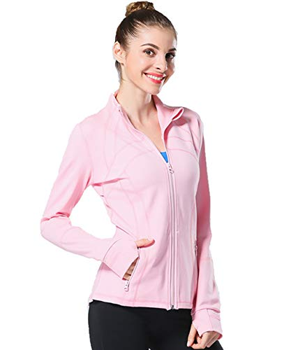 UDIY Women's Athletic Jacket Full Zip Stretchy Running Yoga Track Jacket with Pockets Pink