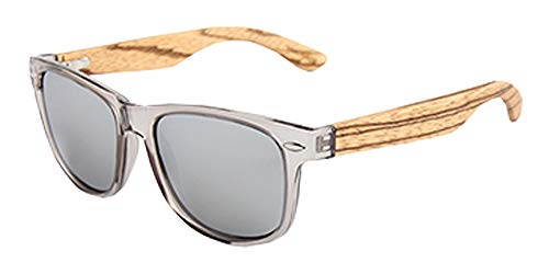 Zebra Wood Sunglasses With Silver Mirror Polarized Lenses