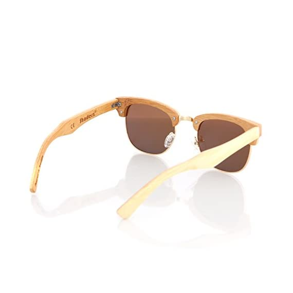 Wood wooden polarized sunglasses natural club half semi-rimless frames w/pouch 3 handcrafted wooden sunglasses- each pair of sunglasses is unique and is made from sustainable wood polarized lenses - our polarized lenses provides crystal clear vision and anti-glare with uv400 protection free microfiber pouch- each pair of sunglasses come with one pouch to store and protect them.