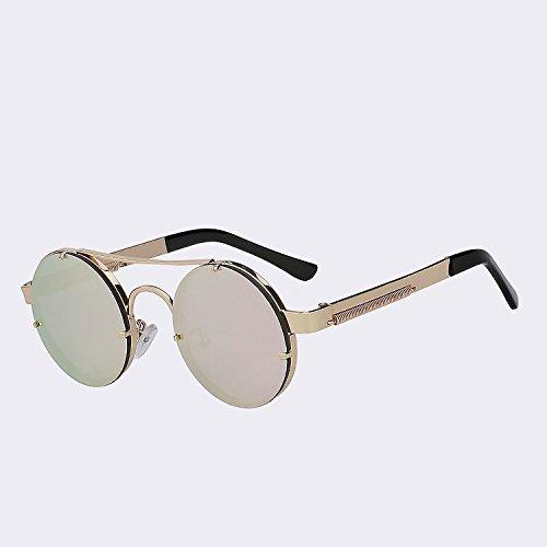 metálicas gafas mirror mujer sol espejo en lentes Gafas gafas plata de vigas Mujer moda Oculos w de TIANLIANG04 pink de de Steampunk rotonda Gold Hombre dobles UV400 de 51qxv7p