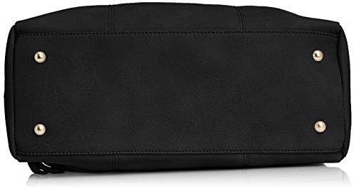 Swankyswans Carla Pu Leather Double Zip Smart - Bolso de mano Mujer Black (Black)