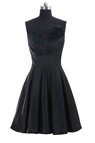 Black Satin Strapless Dress - 2