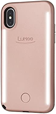 LuMee Duo Selfie Phone Case, Rose | Front & Back LED Lighting, Variable Dimmer | Shock Absorption, Bumper