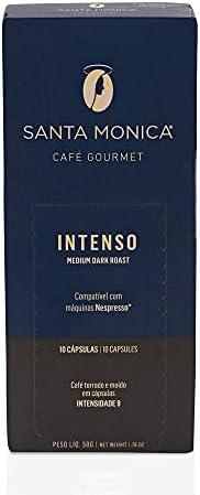 Cápsulas de Café Gourmet Intenso Santa Monica, Compatível com Nespresso, Contém 10 Cápsulas
