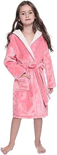 Aibrou Kids Robe Soft Plush Flannel Hooded Bathrobe Sleepwear Robes for Boys and Girls Loungewear