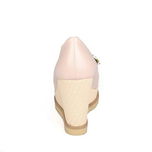Heels Closed High PU Round Pumps Color Shoes on Toe Pink Pull WeenFashion Women's Assorted qvTxf