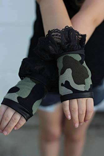 Camo Leather and lace fingerless ruffled gloves child adult Costume halloween cosplay -