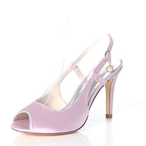 De Boucles Mariage Satin Hlg Haut Orteil Cheville Femmes Party Talon Boucle Lightpink Pointues Chaussures 8q07Z8P