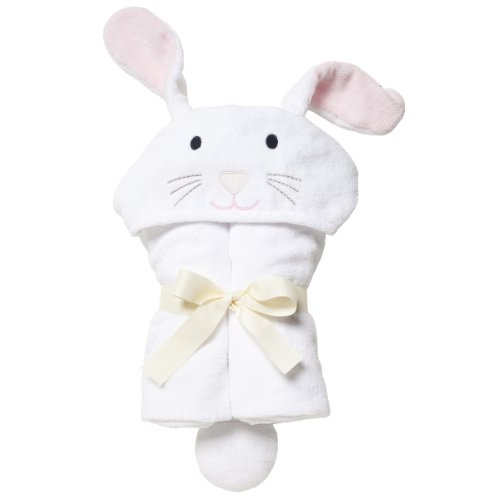 Elegant Baby Bath Time Gift Hooded Towel Wrap, White Bunny
