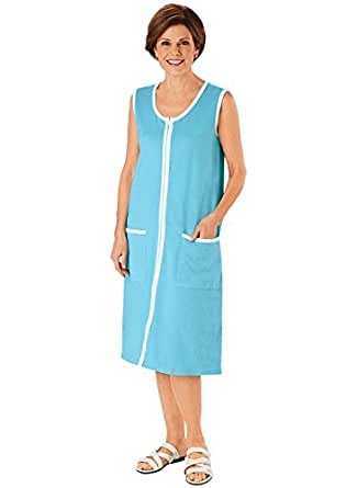 Piped Zip Front Terry Dress, Turquoise, Size Small at