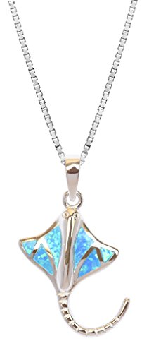 FANCIME 925 Sterling Silver Butterfly Necklace Blue White Created Opal Dainty Pendant Jewelry For Women Girls 18
